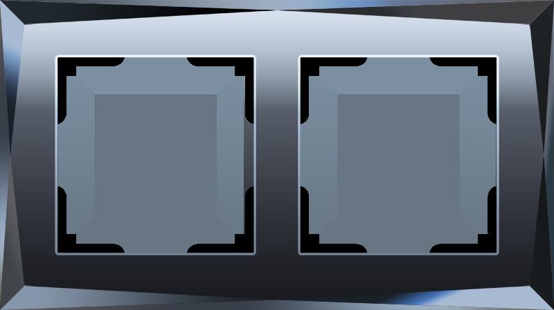 Рамка на 2 поста  (черный) WL08-Frame-02
