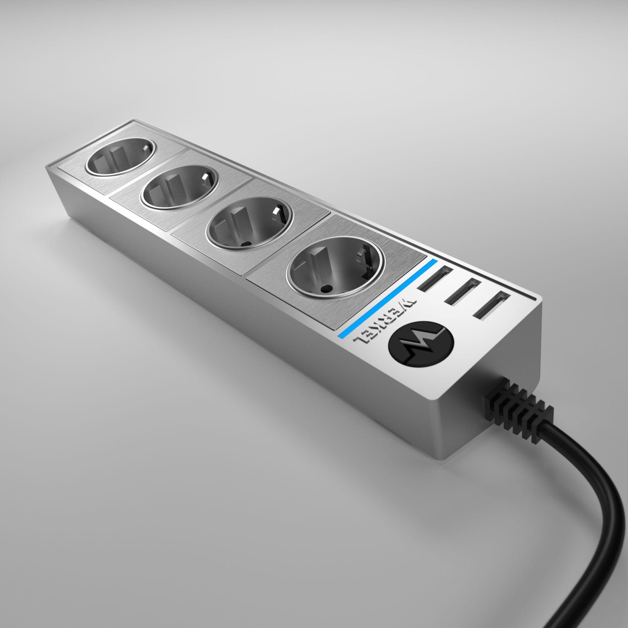 Розеточный блок 4-х местный + 3 USB серебряный/серебряный рифленый WL20-04-03